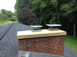 Chimney crown, concrete crown with stainles steel rain caps